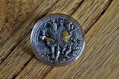 "2 oz antique 999 silver Coin ""Ares God of War"" 24k gold gilding Rare collectable"