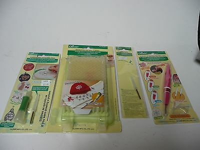 Lot of 4 embroidery stitching tools by Clover & Needle Felting Mat