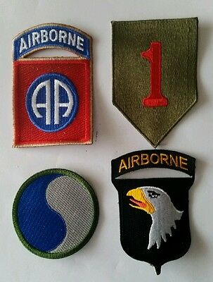 Lot of 4 patches 1st & 29th infantry div.82nd & 101st AIRBORNE D-Day WWII REPRO