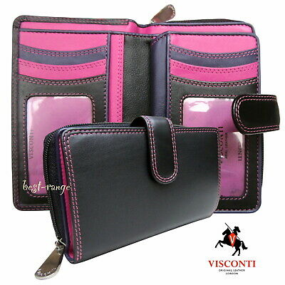 Visconti Ladies Purse Soft Real Leather Wallet Black Berry RFID New in Box R13