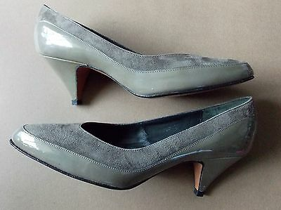 NEW Vintage 1980s Size 7.5 Footrest Grey All Leather Women's Shoes- Heels