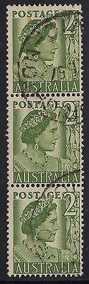 1951 2d Queen (Mother) Elizabeth coil perf strip of 3, used