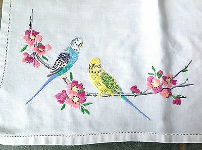 "Vintage Hand Embroidered White Linen "" Budgies "" Table Centre Cloth 22x12.5 Inch"