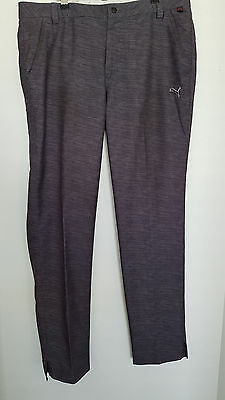 Puma Mens Golf Sports Grey Trousers Cell Size 36'' Waist + 34'' Leg As New Cond