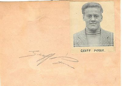 GEOFF PYMAR 1930/60's WIMBLEDON, NEW CROSS & ENGLAND etc HAND SIGNED ALBUM PAGE