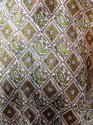 Vintage 1970s Indian White, Brown & Gold Silk 88cm Square Scarf