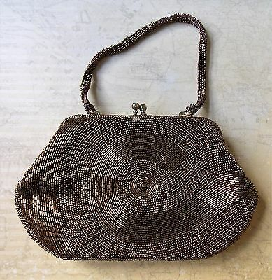 Immaculate Vintage 1950s Lanza Bronze Hand Beaded Japanese Women's Evening Bag