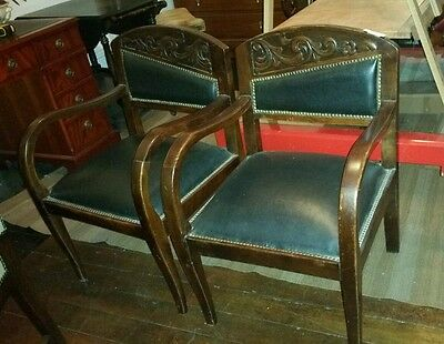 Antique Art Deco Armchairs a Pair Two