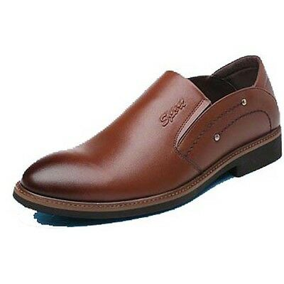 Mens coffee business synthetic leather slip on dress shoe casual office style