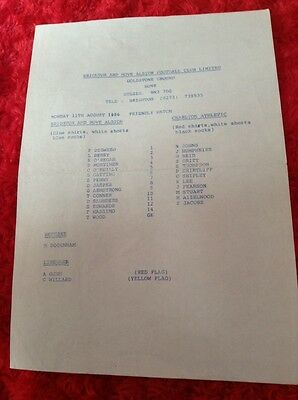 BRIGHTON & HOVE ALBION v CHARLTON ATHLETIC 1986 FRIENDLY SINGLE SHEET
