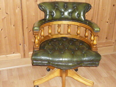 Deep Green, Buttoned, Antiqued Leather, Swivel Captains Chair