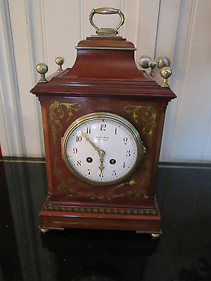 Antique Georgian Mahogany Bracket Clock with Ornate Brass Inlay