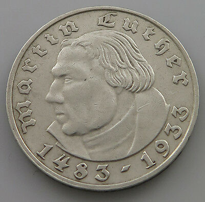 GERMANY 2 MARK 1933 A LUTHER  #kn 181
