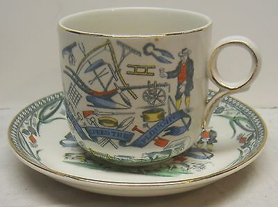 """Vintage Large Cup & Saucer - """"god Speed The Plough"""" Farmers Arms  B & L  England"""