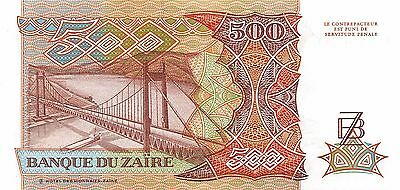 Zaire  500  Zaires  24.6.1989  Series E-F  Uncirculated Banknote AF416