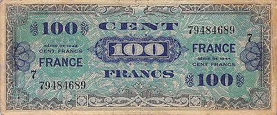 France 100 Francs Series 1944  Run 7  WW II issue  circulated Banknote ,   E10