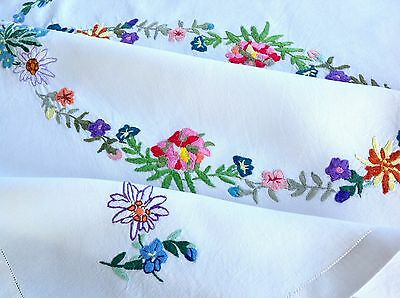 Vintage Hand Embroidered Off White Linen Table Cloth 40X40""