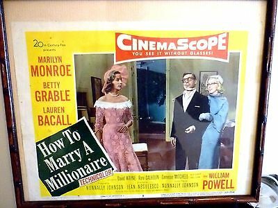 A Nice Vintage Marilyn Monroe Framed Poster Print - How To Marry A Millionaire 1