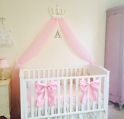 2 X Nursery Baby Girls Large Cot Bed Bedding Bows Princess Decor White Pink Set