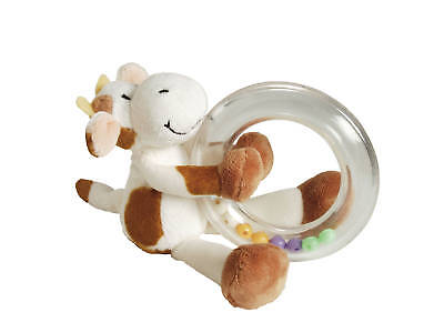 *BRAND NEW soft plush toy COW RING RATTLE baby safe *BOY GIFT or BABY *GIRL GIFT