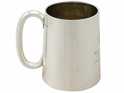 Vintage Asian Colonial Silver and Glass Pint Mug 1940's