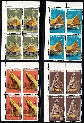 PNG 1971 Native Dwelling set in sheet number corner blocks, mnh