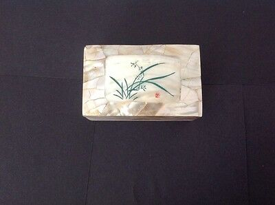Vintage Mother of Pearl Paper Mache Trinket Box
