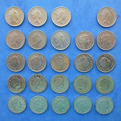 SET OF CIRCULATED 5p FIVE PENCE COINS 1990-2014