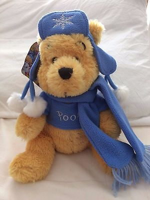Disney Store Winnie the Pooh with Winter Hat & Scarf, Blue, With Tags Plush Soft