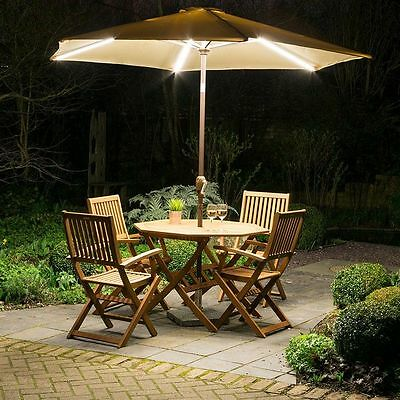 Garden Parasol With Dimmable LED Lights And USB Cantilever Umbrella Sun Shade