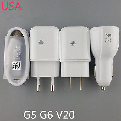 Original For LG V20 G5 USB Data Cable Fast Dual Car Charger Rapid Travel Adapter