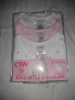 Baby Girls H.W. Carter & Sons Pack of 3 Tank tops Size   000 & 00   NEW