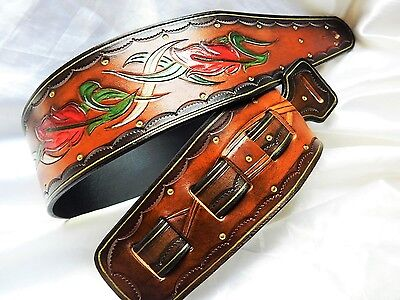 Gorgeous hand-made hand-carved leather guitar strap. Great Price!