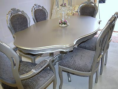 Absolutely Stunning Silver with Grey Shabby Chic Italian table and 6 Chairs