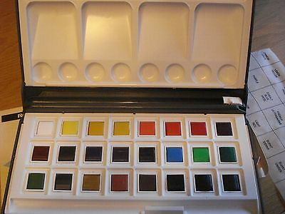 Rowney Water Colour Box,24 Half Pans,NEW.