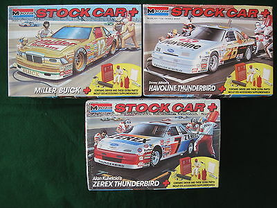 Lot Of Three Monogram Nascar Stock Car + Kits. Davey Allison, Alan Kulwicki
