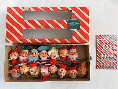Rare Vtg Pixie Elf 15 CHRISTMAS Ornament String Light Set in Box Montgomery Ward