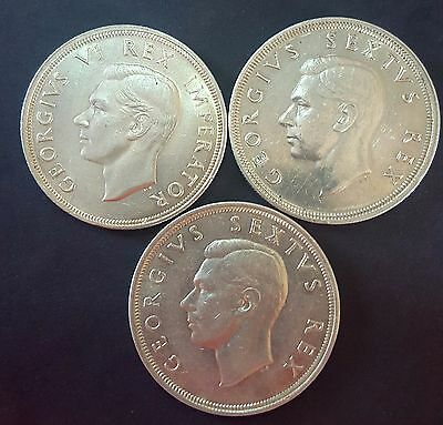 South Africa 1947,1948 And 1949- 5 Shilling - 3 Coins Lot -