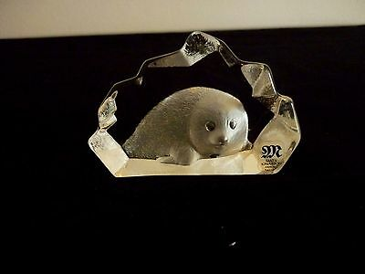 A Small Matt Jonasson Signed Paperweight With Baby Seal - Original Label