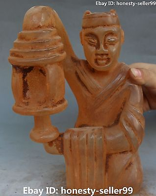"""10"""" Chinese Old Crystal Ancient People Oil lamp Candle Holder Candlestick Statue"""