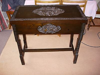 19th Century Chinese Solid Wooden Engraved Folding Card Games Table