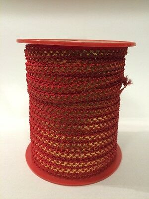 Vintage Mid Century 1960's Red and Gold Ribbon Decorative Edging (100metre Roll)