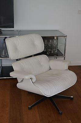 * Original Vitra Charles & Ray Eames Lounge Chair Leder White Version TOP *