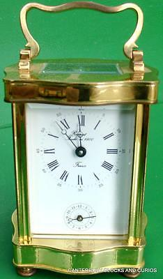 L'epee Vintage French Doucine Serpentine Timepiece 8 Day Alarm Carriage Clock