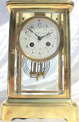 Tiffany & Co Antique French Japy Freres 8 Day Four Glass Crystal Regulator Clock