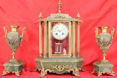 Antique French Green Onyx Garniture Four Glass 8 Day Crystal Regulator Clock Set