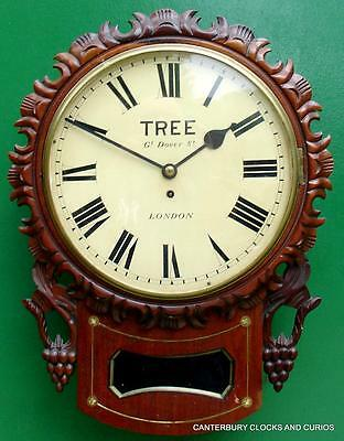 Tree London Decorative Mahogany 8 Day English Fusee Drop Dial Clock