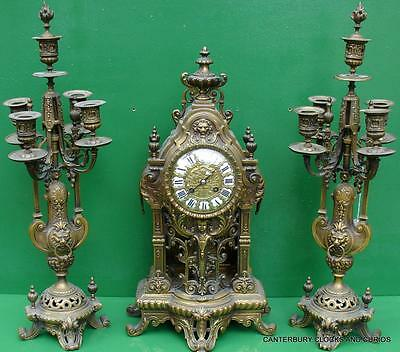 Japy Freres Antique French 8 Day Two Train Rococo Ormolu Candelabras Clock Set