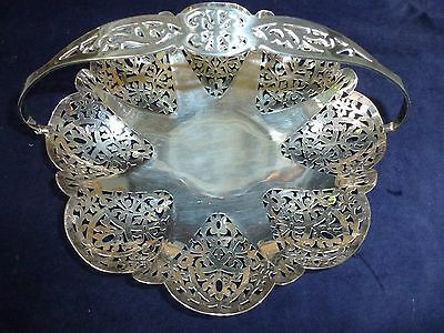 Vintage large silver plated dish / bowl /basket swing handle and pierced pattern