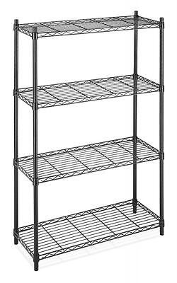 Black/Chrome Storage Rack 4-Tier Organizer Kitchen Shelving Steel Wire Shelves